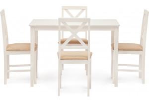 Обеденный комплект эконом Хадсон слоновая кость / крем. (стол + 4 стула)