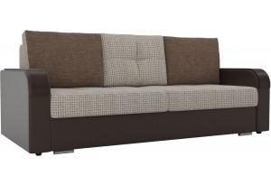 Прямой диван Мейсон бежевый/коричневый (Корфу/экокожа/рогожка)