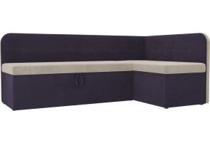 Кухонный угловой диван Форест бежевый/фиолетовый (Велюр)