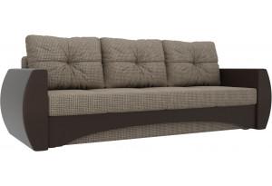 Прямой диван Сатурн коричневый/коричневый (Корфу/экокожа)