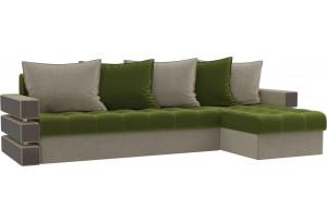 Угловой диван Венеция Зеленый/Бежевый (Микровельвет)