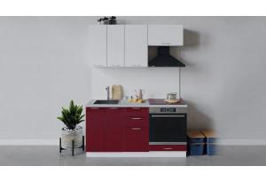 Кухонный гарнитур «Весна» длиной 160 см со шкафом НБ (Белый/Белый глянец/Бордо глянец)