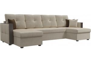 П-образный диван Валенсия Бежевый (Микровельвет)