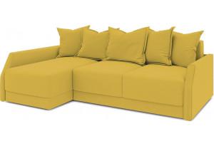 Диван угловой левый «Люксор Slim Т2» (Poseidon Curcuma (иск.замша) желтый)
