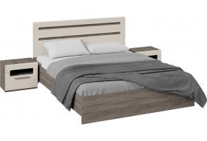 Спальный гарнитур «Фьюжн» стандартный без шкафа (Дуб Сонома трюфель/Бежевый)