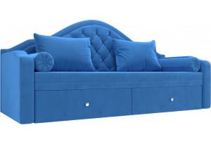 Прямой диван софа Сойер Голубой (Велюр)