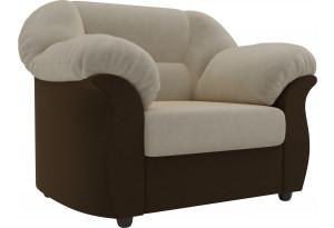 Кресло Карнелла бежевый/коричневый (Микровельвет)