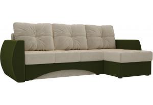 Угловой диван Сатурн бежевый/зеленый (Микровельвет)