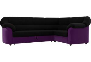 Диван угловой Карнелла черный/фиолетовый (Микровельвет)