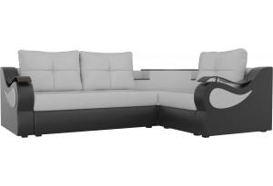 Угловой диван Митчелл Белый/Черный (Экокожа)
