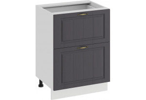 Шкаф напольный с двумя ящиками «Лина» (Белый/Графит)