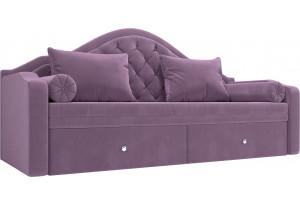 Прямой диван софа Сойер Сиреневый (Микровельвет)