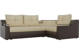 Угловой диван Тесей бежевый/коричневый (Экокожа)