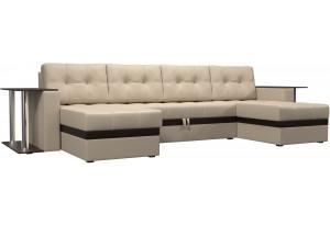 П-образный диван Атланта со столом Бежевый (Экокожа)