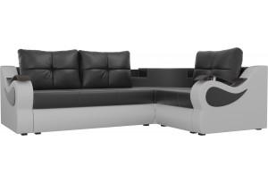 Угловой диван Митчелл Черный/Белый (Экокожа)