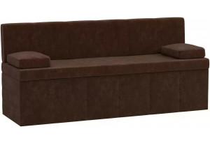 Кухонный прямой диван Лео Коричневый (Микровельвет)