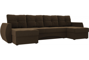 П-образный диван Сатурн Коричневый (Микровельвет)