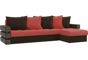 Угловой диван Венеция Коралловый/Коричневый (Микровельвет)