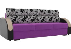 Прямой диван Дарси Фиолетовый/Черный (Микровельвет/Экокожа/флок на рогожке)