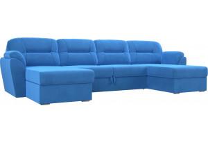 П-образный диван Бостон Голубой (Велюр)