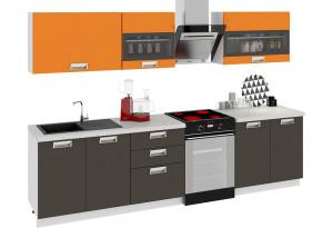 Кухонный гарнитур длиной - 300 см БЬЮТИ (Оранж)/(Грэй)