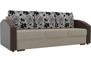 Прямой диван Монако slide бежевый/коричневый (Микровельвет/Экокожа/флок на рогожке)