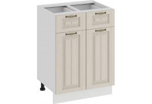 Шкаф напольный с двумя ящиками и двумя дверями «Лина» (Белый/Крем)
