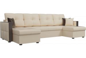 П-образный диван Валенсия Бежевый (Экокожа)