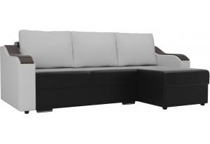 Угловой диван Монако Черный/Белый/Белый (Экокожа)