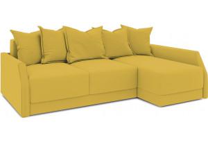 Диван угловой правый «Люксор Slim Т2» (Poseidon Curcuma (иск.замша) желтый)