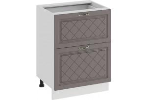 Шкаф напольный с двумя ящиками «Бьянка» (Белый/Дуб серый)