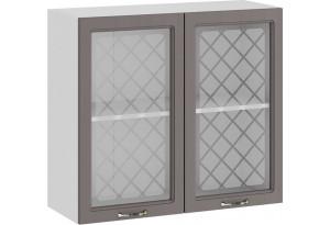 Шкаф навесной c двумя дверями со стеклом «Бьянка» (Белый/Дуб серый)