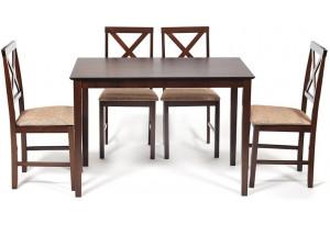 Обеденный комплект эконом Хадсон темный орех \ кор.-зол. (стол + 4 стула)