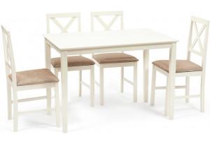 Обеденный комплект эконом Хадсон слоновая кость / кор. зол. (стол + 4 стула)