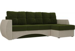 Угловой диван Сатурн Зеленый/Бежевый (Микровельвет)