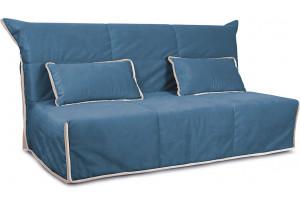 Диван «Крокус» (145х200) Beauty 07 (велюр), синий, кант Beauty 02 (велюр), капучино
