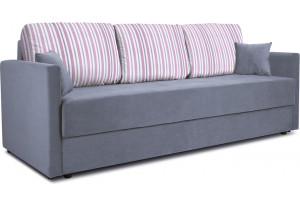 Диван «Поло» Classic 08 серо-голубой подушки Strip 04