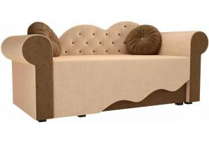Детская кровать Тедди-2 бежевый/коричневый (Микровельвет)