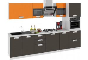 Кухонный гарнитур длиной - 300 см (с пеналом ПБ) БЬЮТИ (Оранж)/(Грэй)