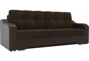 Прямой диван Браун коричневый/коричневый (Велюр/Экокожа)
