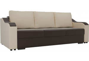 Прямой диван Монако Коричневый/Бежевый (Экокожа)