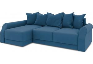 Диван угловой левый «Люксор Т2» Beauty 07 (велюр) синий