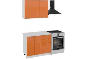 Кухонный гарнитур «Весна» стандартный набор (Белый/Оранж глянец)