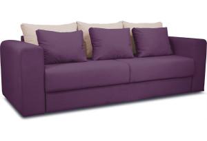 Диван «Вилсон» Kolibri Violet (велюр) фиолетовый, подушка Kolibri Cream (велюр) кремовый