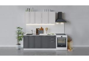 Кухонный гарнитур «Ольга» длиной 180 см (Белый/Белый/Графит)