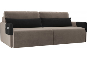 Прямой диван Армада коричневый/черный (Велюр)