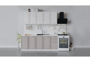 Кухонный гарнитур «Ольга» длиной 200 см (Белый/Белый/Кремовый)