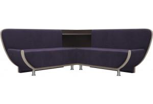 Кухонный угловой диван Лотос фиолетовый/бежевый (Велюр)