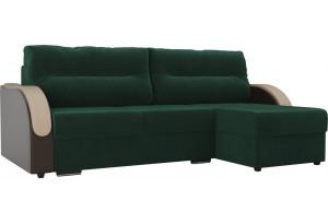 Угловой диван Дарси зеленый/коричневый (Велюр/Экокожа)