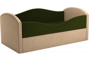 Детская кровать Сказка Зеленый/Бежевый (Микровельвет)